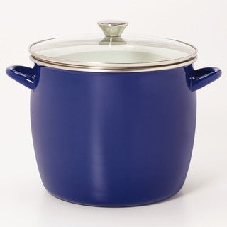 Sabatier 8QT Eos Stock Pot Blue With Glass Lid