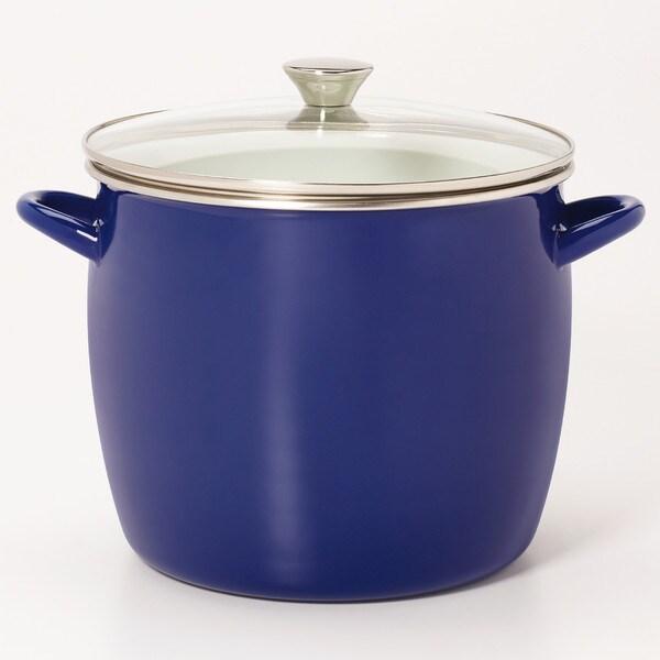 Sabatier 8QT Eos Stock Pot Blue With Glass Lid