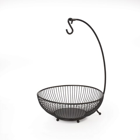 Mikasa Gourmet Basics Black Spindle 2-tier Basket with Banana Hook