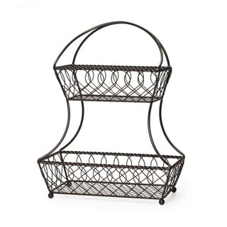 Gourmet Basics 2 Tier Flatback Basket Loop Lattice Wire