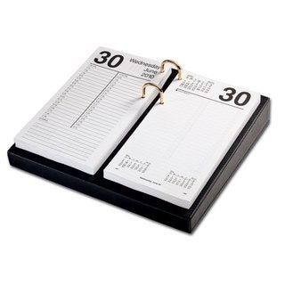 "Black Leather 3.5"" x 6"" Calendar Holder with Gold Accents"
