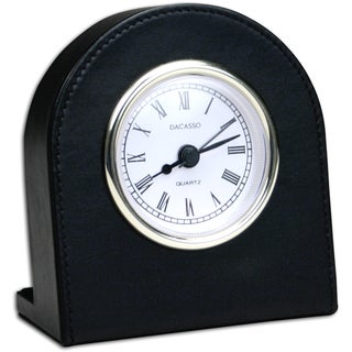 Classic Black Leather Clock With Gold Accents