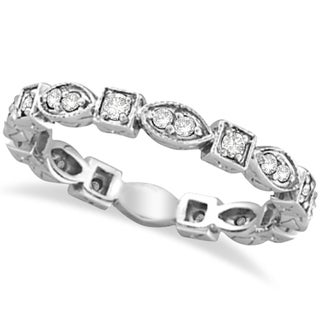 14k Gold 0.36ct Antique Style Diamond Eternity Ring Band (G-H, SI1-SI2)