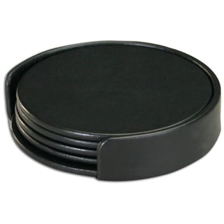 Classic Black Leatherette 4 Coaster Set With Holder