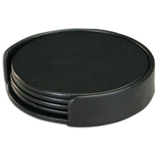 Dacasso Round Rustic Leather Coasters Set Of 4 Free
