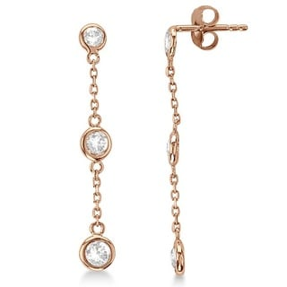 14k Gold 0.25ct Diamonds by the Yard Bezel-Set Drop Earrings (G-H, SI1-SI2)