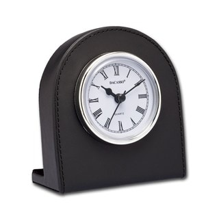 Classic Black Leather Desk Clock With Silver Accents