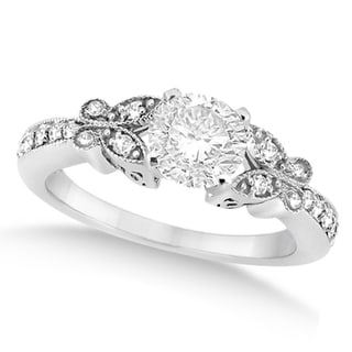 14k White Gold 1ct Round Diamond Butterfly Design Ring