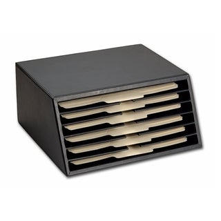 Classic Black Leather File Sorter