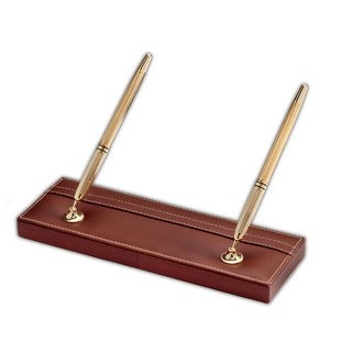 Rustic Brown Leather Pen Stand With Gold Accents