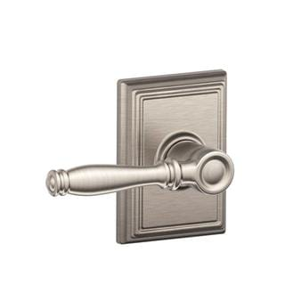 Schlage Addison Collection Birmingham Satin Nickel Bed and Bath Lever
