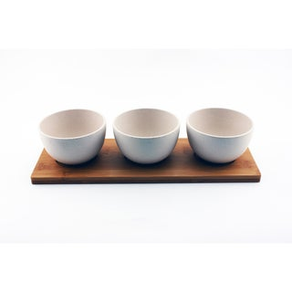 Cooknco Snack Bowl (3x) On Bamboo Tray