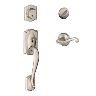 Schlage Camelot Satin Nickel Left-Hand Handleset with Flair Interior Lever