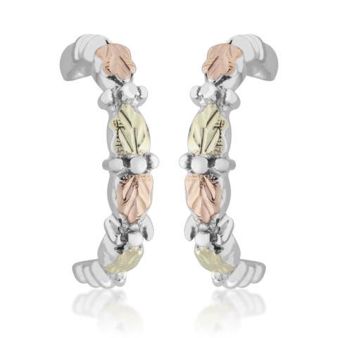 Black Hills Gold on Silver Semi-hoop Earrings