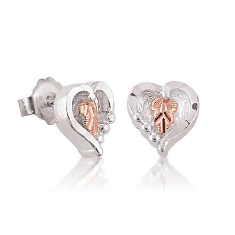 Black Hills Gold on Silver Heart Earrings