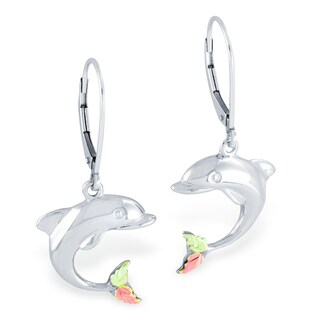 Black Hills Gold on Silver Dolphin Earrings