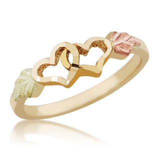 10k Yellow Gold and Black Hills Gold Double Heart Ring