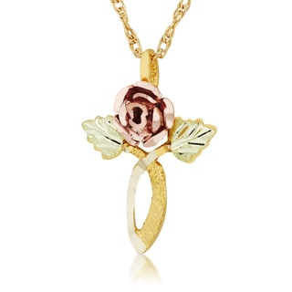 10k Yellow Gold and Black HIlls Gold Rose Pendant