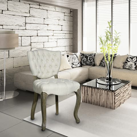 Adeco Eruo Regal Fabric Armless Chair with Toon Wood Legs (Set of 2)