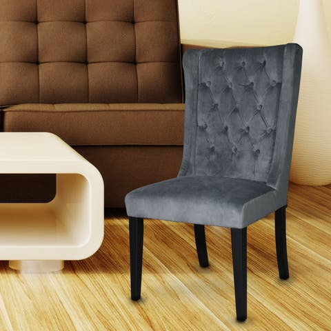 Adeco European-style Tall Back Dining Chairs with Toon Wood Legs (Set of 2 )