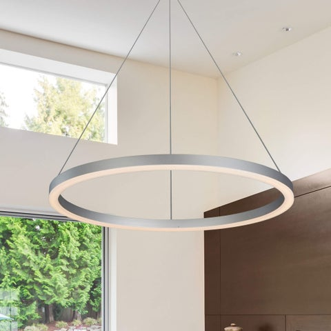 VONN Lighting Tania 24 inches LED Low-Profile Orbicular Chandelier in Satin Nickel