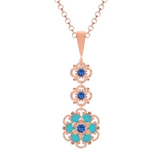Lucia Costin Silver Blue Turquoise Crystal Pendant