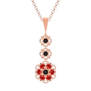Lucia Costin Sterling Silver Black/ Red Crystal Pendant