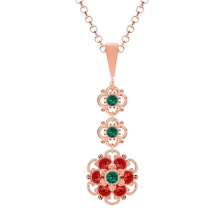 Lucia Costin Sterling Silver Green/ Red Crystal Pendant