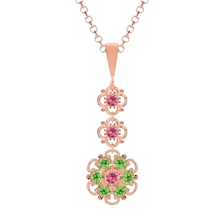 Lucia Costin Sterling Silver Pink/ Light Green Crystal Pendant