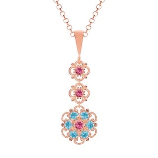 Lucia Costin Sterling Silver Pink/ Light Blue Crystal Pendant
