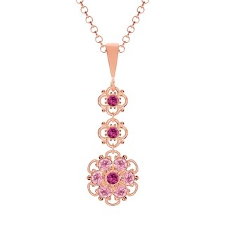 Lucia Costin .925 Sterling Silver Fuchsia/ Light Pink Crystal Pendant