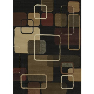 China Garden Jazz Black Accent Rug (1'10 x 3')