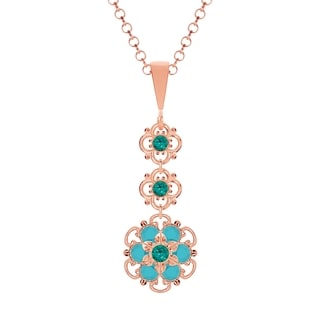 Lucia Costin Sterling Silver Turquoise Green Crystal Pendant