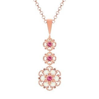 Lucia Costin Sterling Silver Pink/ White Crystal Pendant