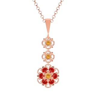 Lucia Costin Sterling Silver Yellow/ Red Crystal Pendant