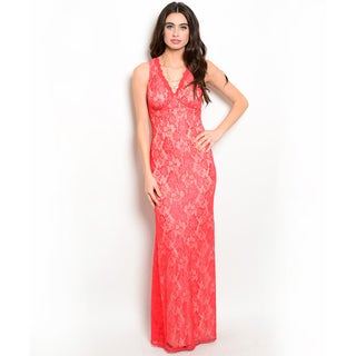 Shop the Trends Women's Sleeveless Lace Maxi Dress