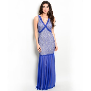 Shop the Trends Women's Sleeveless Lace and Chiffon Maxi Dress