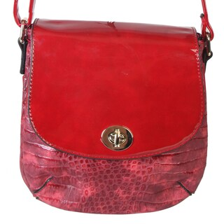 Rimen and Co. Crocodile Print Small Patent Leather Flap Crossbody Handbag