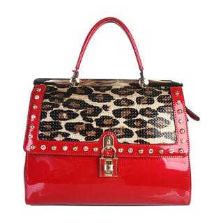Rimen and Co. Animal Print Patent Flap Metal Lock and Crystal Design Handbag