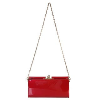 Rimen and Co. Patent Leather Gold Chain Clutch Crossbody Handbag