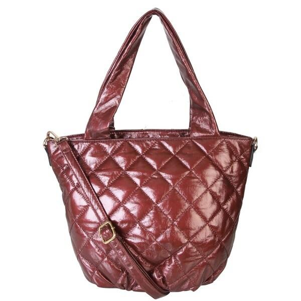 Shop Diophy Shiny Soft Leather Hobo Tote Shopper Shoulder Handbag ... 3cc39791ed