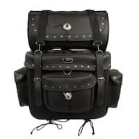 Large 2-piece PVC Studded Touring Sissy Bar Bag