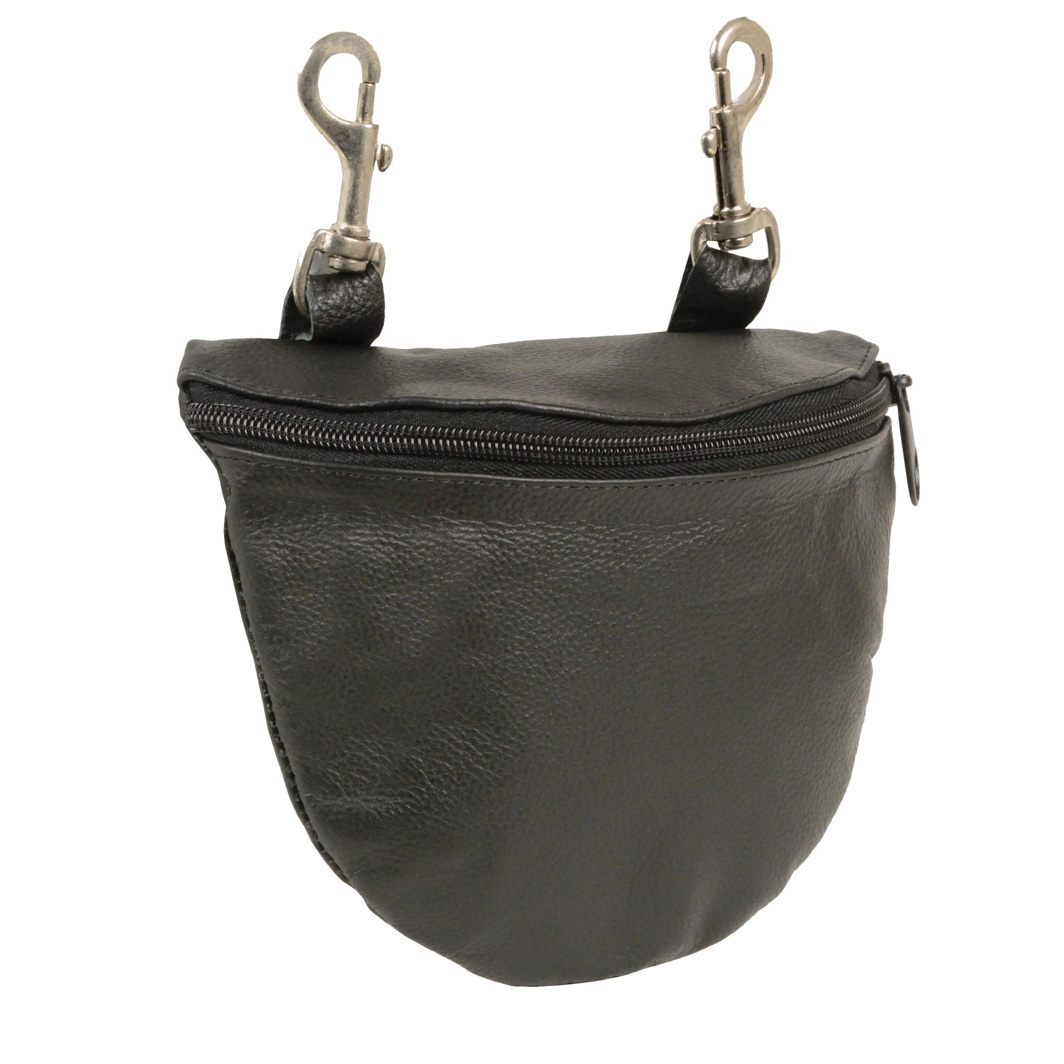 Leather Zipper Closure Belt Bag With Belt Clasps (Black)