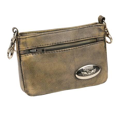 Milwaukee Leather Women's Beige Leather Crossbody Handbag