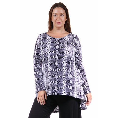 24/7 Comfort Apparel Women's Plus Size Printed Tunic