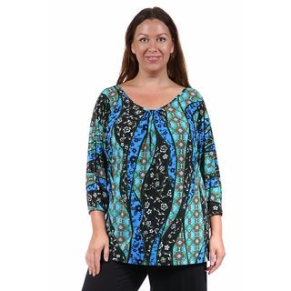 24/7 Comfort Apparel Women's Plus Size Teal Abstract Mosaic Tunic