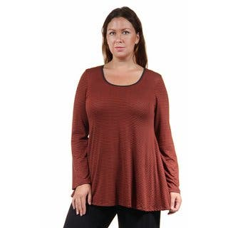 24/7 Comfort Apparel Women's Plus Size Red Striped Printed Tunic|https://ak1.ostkcdn.com/images/products/10694993/P17756796.jpg?impolicy=medium