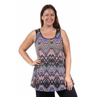 24/7 Comfort Apparel Women's Plus Size Multi-Color Print Chevron Sleeveless Tunic