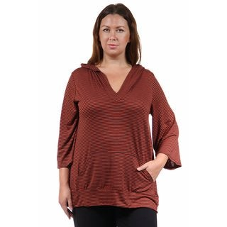 24/7 Comfort Apparel Women's Plus Size 3/4 Sleeve Red Stripped Hoodie Top