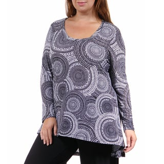 24/7 Comfort Apparel Women's Plus Size Black&White Oriental Printed Tunic